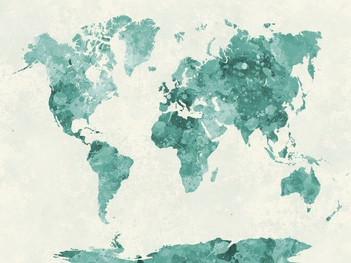World Map In Watercolor Green Fridge Sticker Pixers We Live