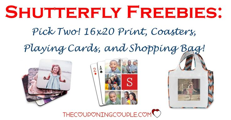 HOT FREEBIE! PICK TWO for FREE! Playing Cards! Reusable Shopping Bag! Coasters! 16x20 Print! What a great deal! Just pay shipping!  Click the link below to get all of the details ► http://www.thecouponingcouple.com/shutterfly-freebies/ #Coupons #Couponing #CouponCommunity  Visit us at http://www.thecouponingcouple.com for more great posts!