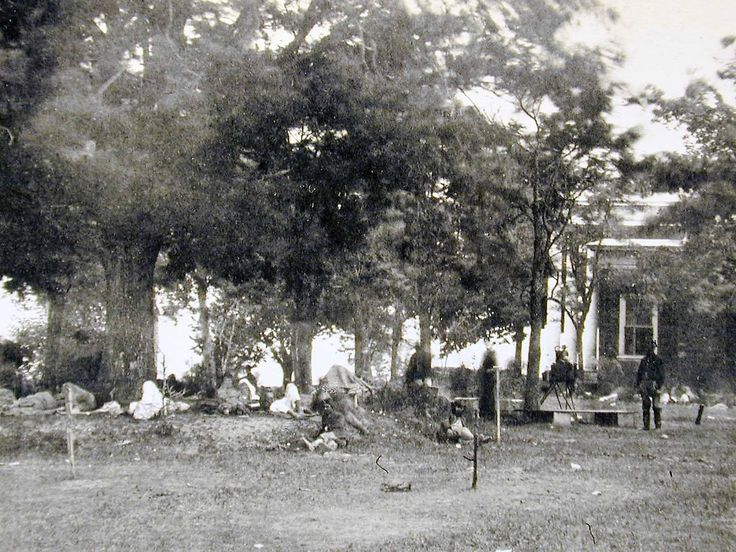 Cool detail from a very rarely-seen 1864 Fredericksburg photo atop Marye's Heights showing wounded soldiers, a giant oak tree that still stands, the Brompton house and a camera or developing box on a tripod! Gary Adelman's Civil War Page