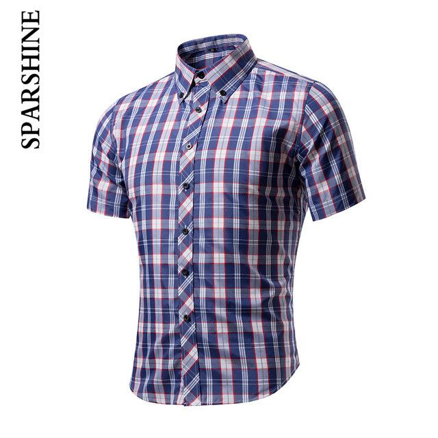 Short Sleeve Office plaid shirt Men Slim Design Formal Casual Male Dress Shirt Men's shirts