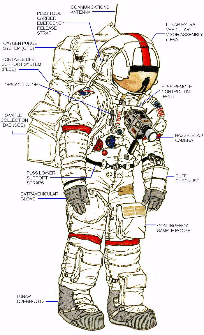 spacesuit is labeled with specific parts and functions