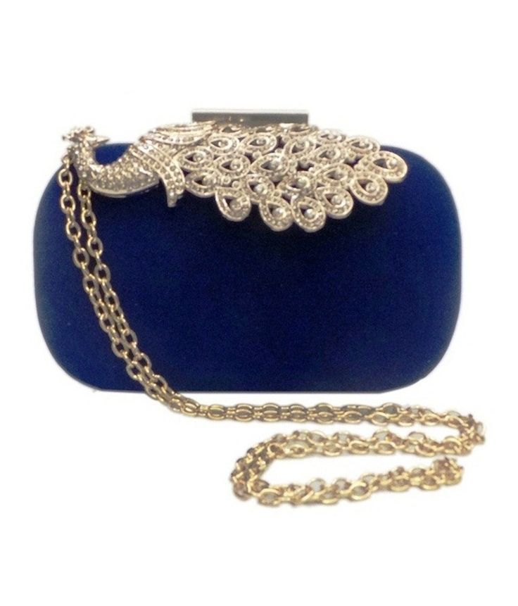 Bhamini Blue Velvet Box Clutch With Peacock Brooch, http://www.snapdeal.com/product/bhamini-blue-velvet-box-clutch/1054679505