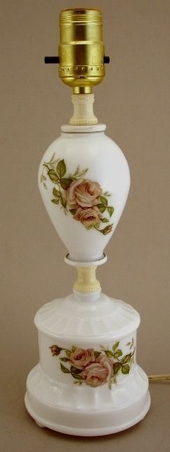 Milk Glass Boudior Table Lamp Roses Vintage