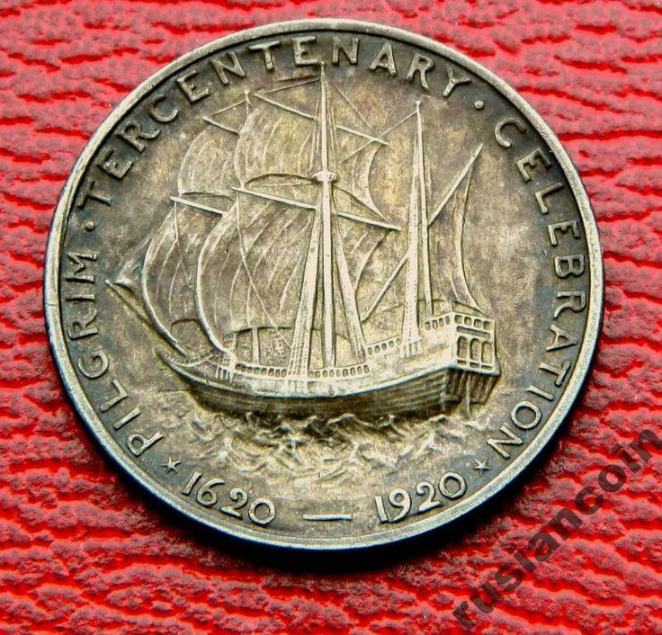 Пол доллара Пилигримы Парусник корабль СЕРЕБРО