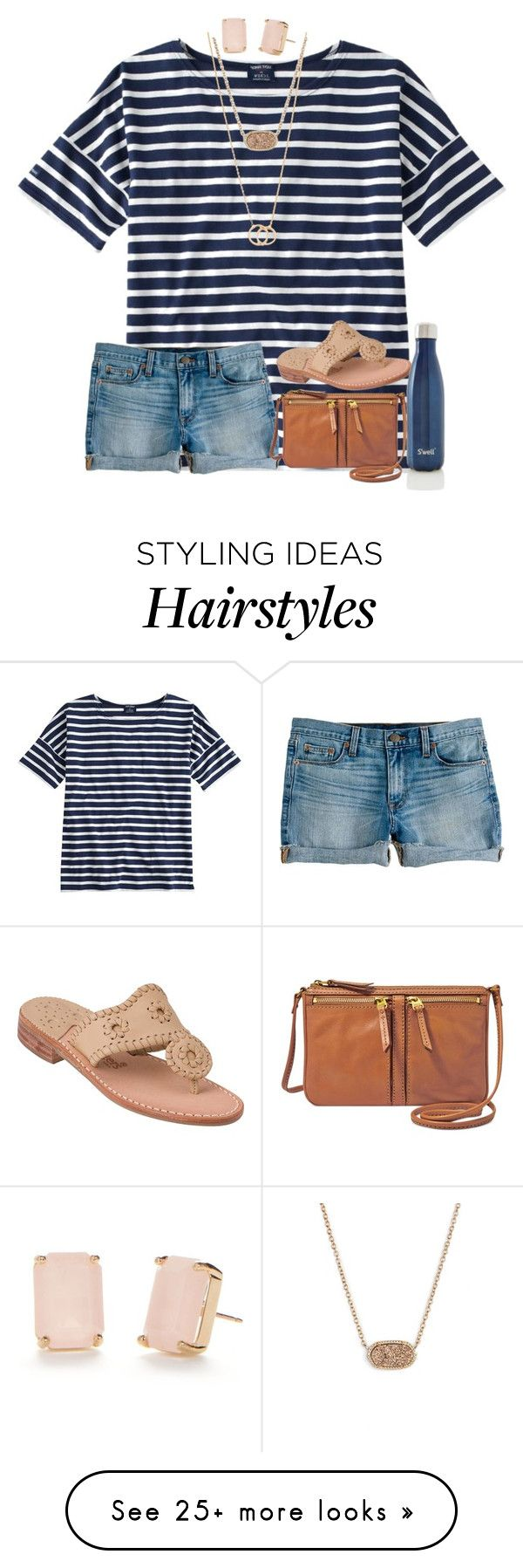 """""""Can't wait for salty hair and tan lines.. But I still want it to snow"""" by preppycarolinacutie on Polyvore featuring Saint James, J.Crew, FOSSIL, Jack Rogers, S'well, Dogeared, Kendra Scott and Kate Spade"""