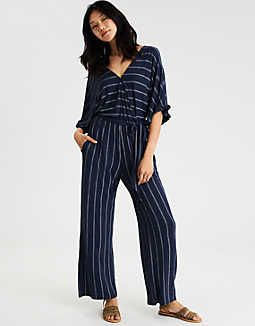 c6910a89658 AE KNIT KIMONO JUMPSUIT Navy American Eagle Outfitters