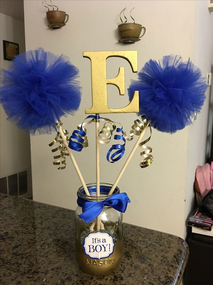 Royal blue and gold baby shower centerpiece things i ve