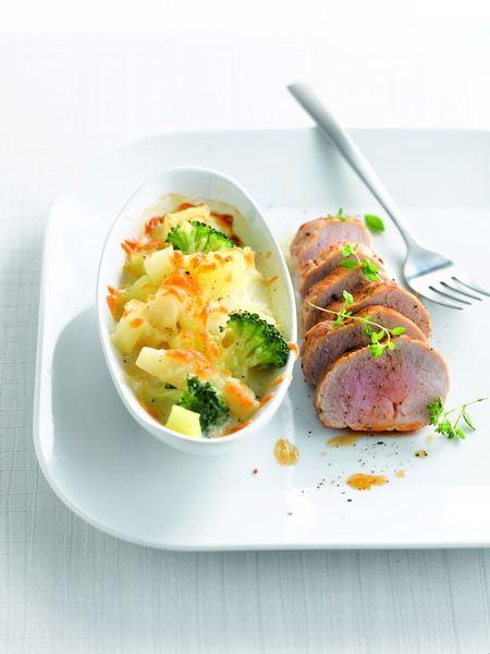 Gegratineerde aardappeltjes met knolselder en schorseneren
