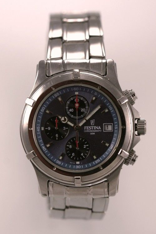 94057525567 Festina Mens Watch Stainless Silver Steel Chrono Date 50m Battery Blue  Quartz