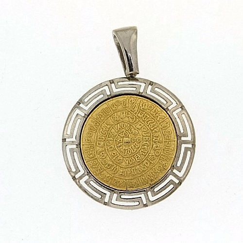 Phaistos disc meander golden silver pendant by ThetisTreasures