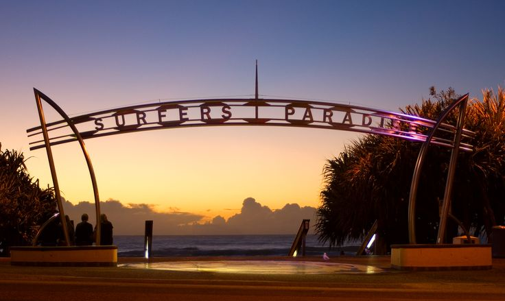 the famous arch way to the beach at Surfers Paradise on the Gold Coast Australia....  and the magic sunrise on the beach