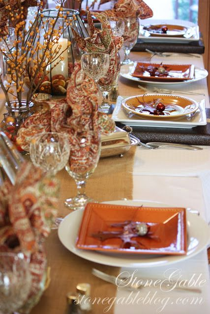 great idea to mix and match place settings stonegable fall tablescape - Halloween Place Settings
