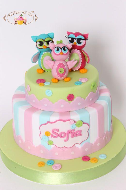 Torta de bautismo con los b hos tortas para los mas - Bizcochos cumpleanos infantiles ...