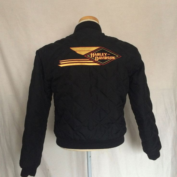Harley-Davidson Womens Jacket Sz Small Black Quilted Reversible Full Zip 2004 #HarleyDavidson #BasicJacket #Casual