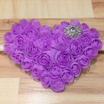 Large Whimsical Heart - Purple, Silver and Beige