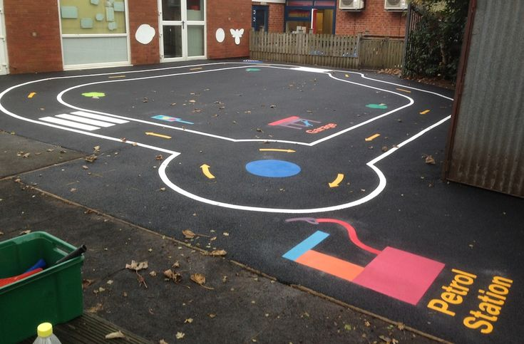 Key stage 1 Bike track with roundabouts, zebra crossings and petrol station. Ideal for brightening up the school play yard area.