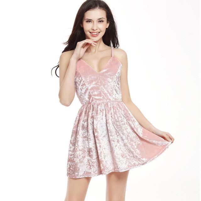 Women Sexy Velvet Dresses A Line Spaghetti Strap Sleeveless Black Pink Clubwear Casual Party Mini Dress
