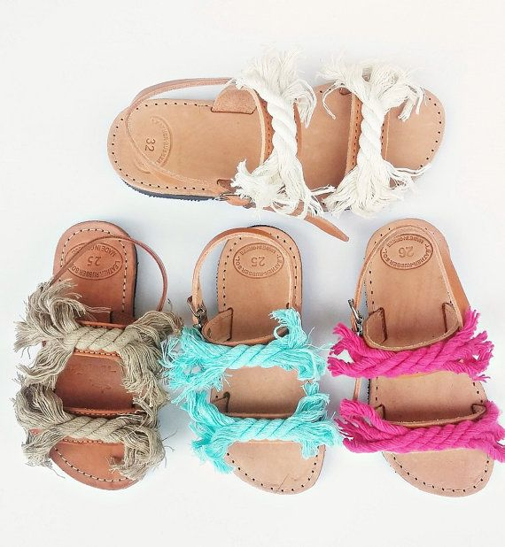 Navy Cord Sandals for Kids. You cant go wrong with these sweeties!  Handmade strappy sandals with genuine greek leather straps in natural tan color