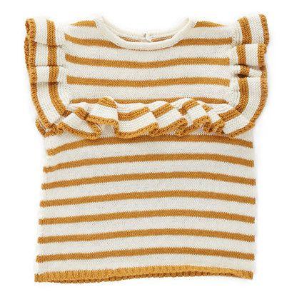 Oeuf Frou Frou Ruffle Sweater, Ochre Stripe - Spearmint Ventures, LLC