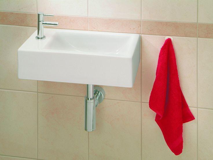 Basic toilet fontein/kraan. Praya Metis fontein 50x25cm inclusief kraan sifon en afvoerplug wit - 32.3523 - Sanitairwinkel.nl
