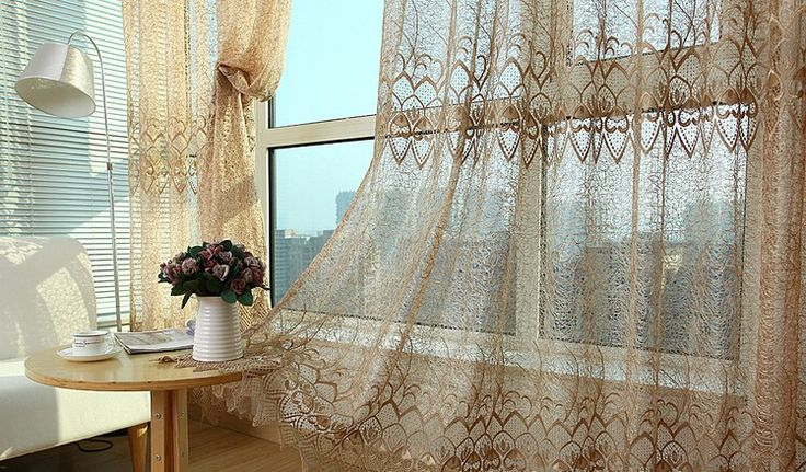 Aliexpress.com: Outlets & Factory Wholesaleより信頼できる USD22.9 c121 サプライヤからファッション ヨーロッパ エレガント な スタイル幾何花刺繍ボイル薄手の カーテン用リビング ルーム の バルコニー キッチンを購入します