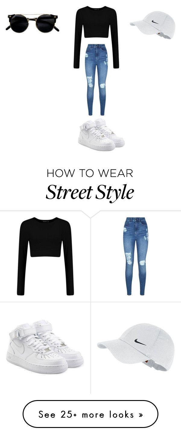 street style wear by bekah2bick on Polyvore featuring Lipsy, NIKE, StreetStyle…