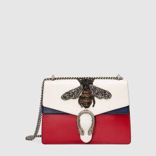 Dionysus embroidered leather shoulder bag