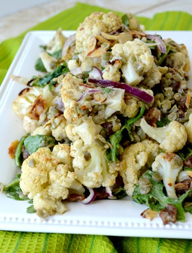 Roasted Spiced Cauliflower and Lentil Salad with almonds, dates, red onion and a home made dressing. REALLY DELICIOUS!