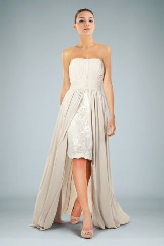 Special High-low Asymmetrical Bridesmaid Dress in Chiffon Featuring Laced Skirt
