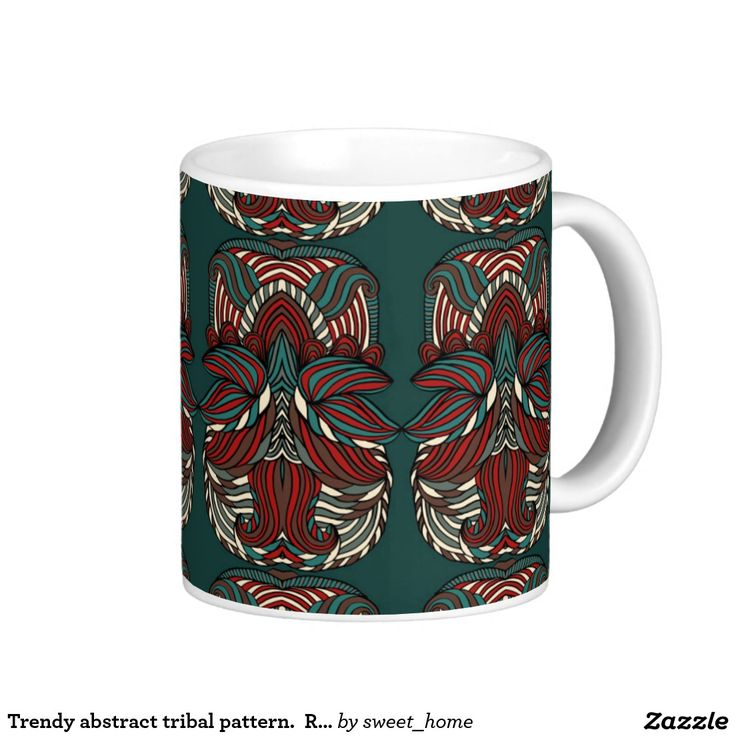 Trendy abstract tribal pattern.  Red and green. Coffee Mug  For home design and decor. Beautiful home accessories ideas. Luxury elegant style.