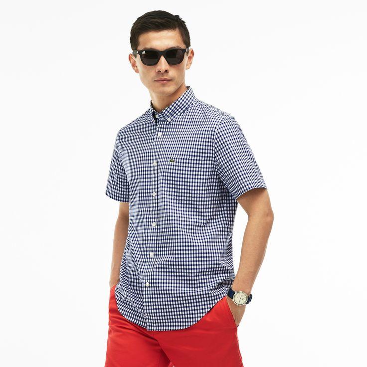 LACOSTE Men's Gingham Check Poplin Shirt - methylene/white. #lacoste #cloth #