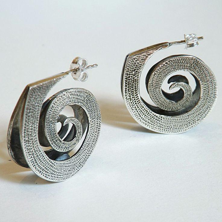 Spiral sterling silver earrings.