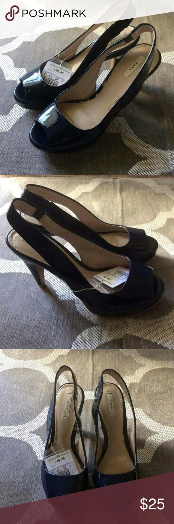 Zara Dark Blue Patent Leather Heels Patent leather dark blue heels, new with tags but bottom does have wear from being on display. Zara Shoes Heels