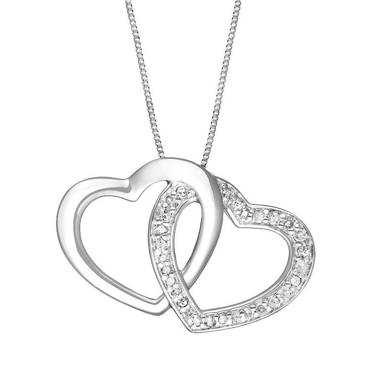 8e7a23a6cc09f Two Hearts Forever One Sterling Silver 1/4-ct. T.W. Diamond Heart ...