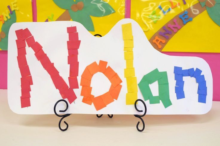 Mrs. Ricca's Kindergarten: Alphabet.  Have kids cut up construction paper to make their name.  Cute idea!