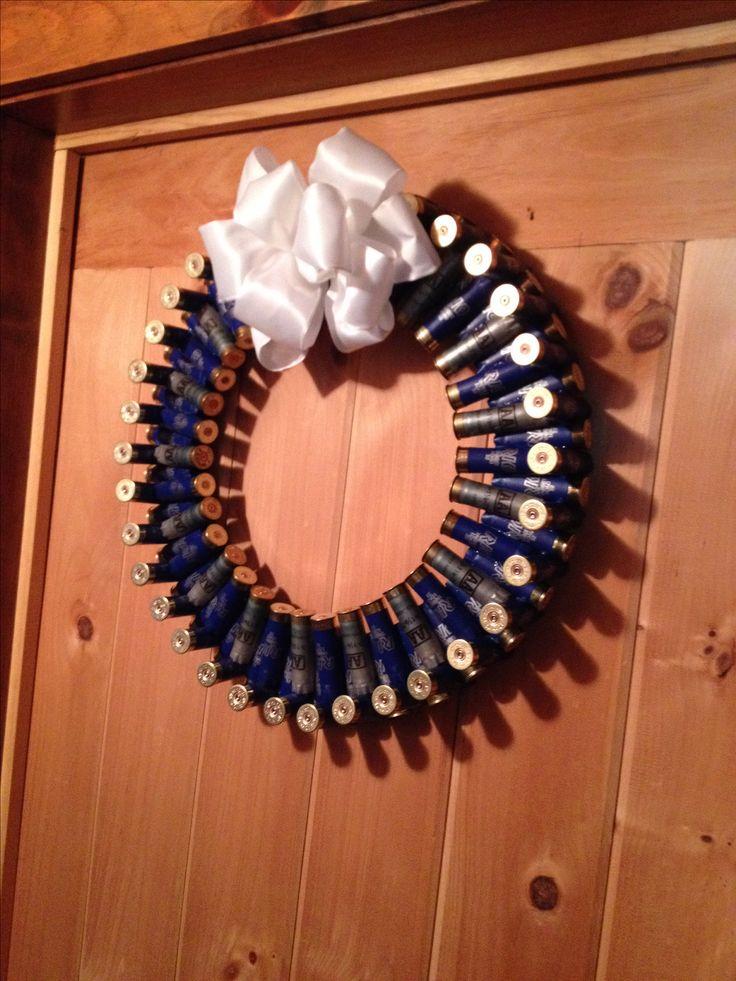Blue and silver 12 gauge shotgun shell wreath