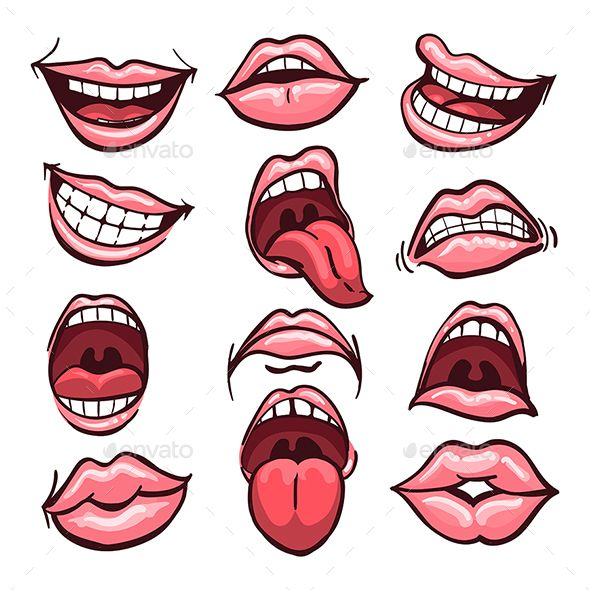 Cartoon Mouth Set Cartoon Mouth Set Cartoon Mouths Mouth