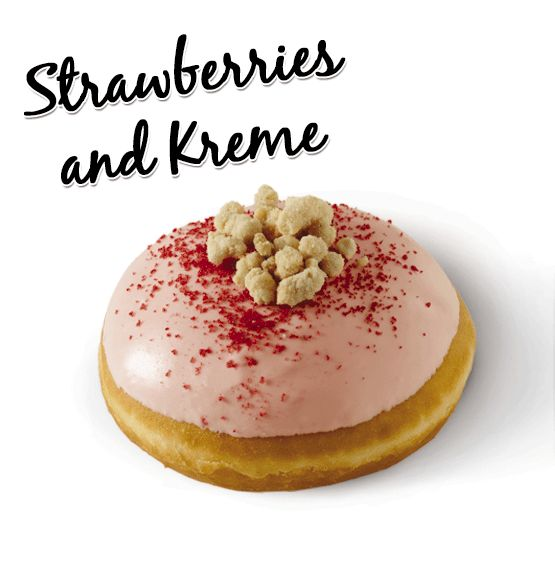 Strawberry filling and Kreme, hand-dipped in strawberry icing and sprinkled with crunchy shortcake crumble and strawberry pieces.