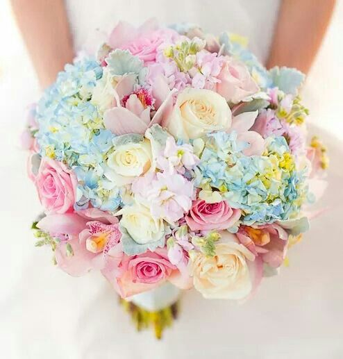 ***Candice*** I like this bouquet but the blue flowers would need to be a little bit greener than that blue so that they don't clash with the bridesmaid's dresses. I'll send you a picture of the dresses.