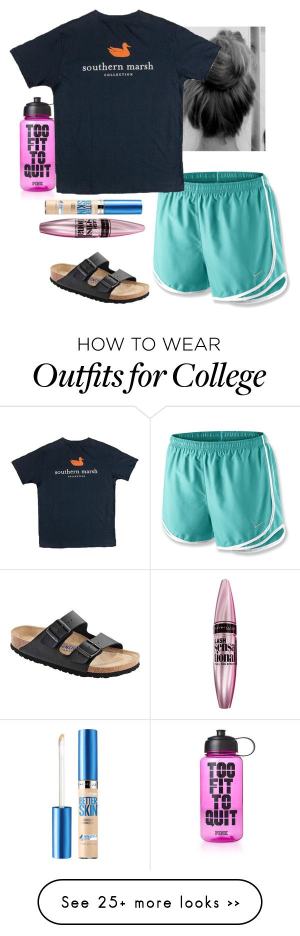 """Lazy days."" by lauren-grayce-1 on Polyvore featuring Victoria's Secret PINK, NIKE, Birkenstock and Maybelline"