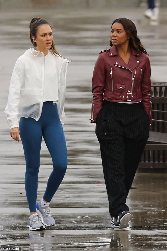 JESSICA A - 02/13/2019 WITH GABRIELLE UNION FILMING TV SERIES, 'L A