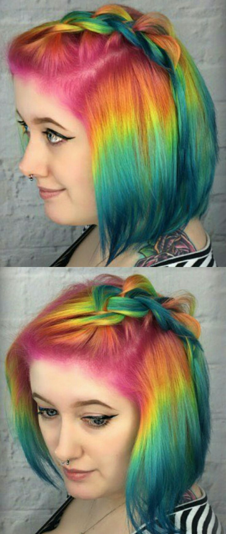 Rainbow ombre dyed hair color @pinupjordan