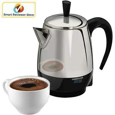 Percolator coffee maker 4Cup Stainless Steel Pot Cool Touch Black By Farberware