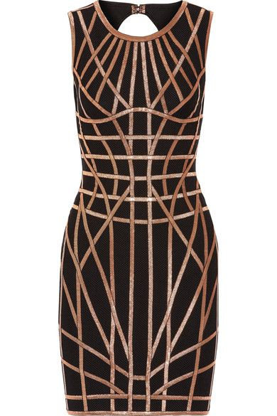 Hervé Léger - Romee Metallic-trimmed Stretch Jacquard-knit Dress - Black -