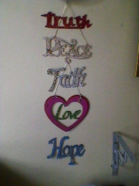 """inspiration against my bedroom wall.  Bought the """"peace"""" as is and the """"love"""" as a cardboard template.  Created and painted the rest"""