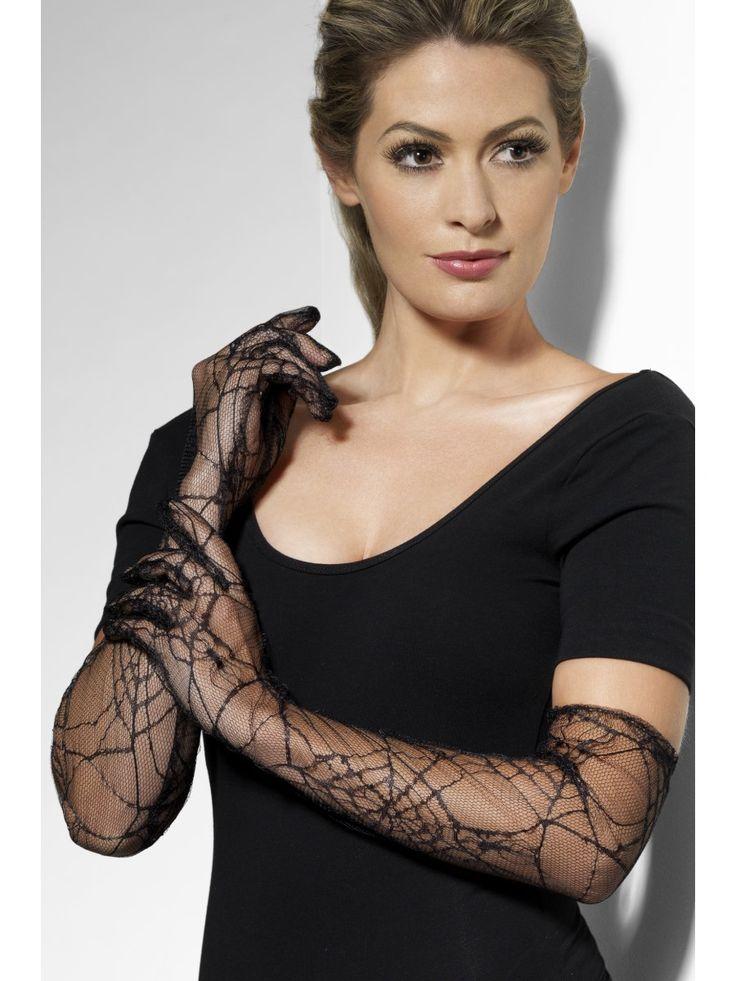 Hämähäkinverkkokuvioiset käsineet. Mustat, läpikuultavat pitsikäsineet ovat hieno ja tyylikäs yksityiskohta naamiaisasuun ja halutessasi hieman valtavirrasta poikkeavaa tyyliä, voit somistaa niillä vaikka juhla-asusi.