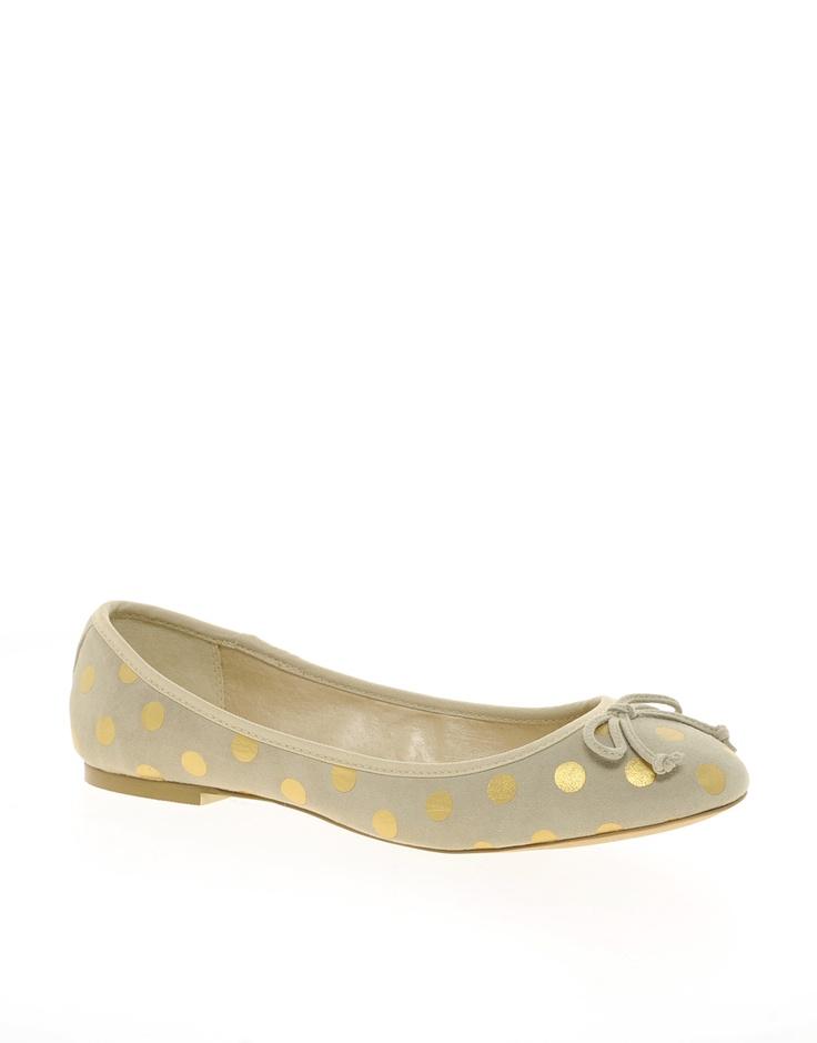 gold dot ballet flats