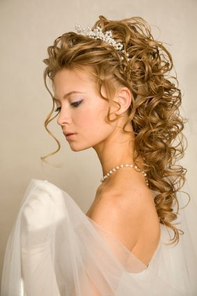 image for long curly wedding hairstyles with tiara  curly