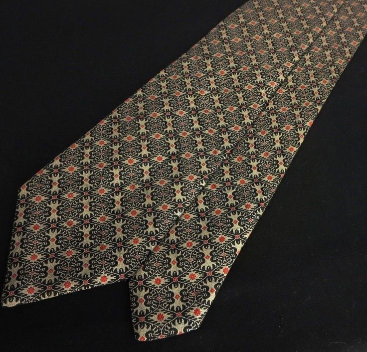 BRIONI Tan Black Floral Geometric 100 Silk Tie Made in Italy