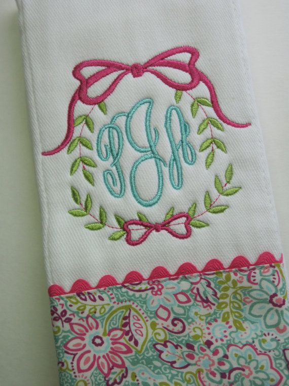 A super cute MONGRAMMED baby burp cloth for a super sweet baby girl. When you place your order, please indicate babys first, LAST, middle names for monogramming. I look forward to designing this unique baby gift with you. *SPECIAL NOTES* Important to check my SHOP ANNOUNCEMENT